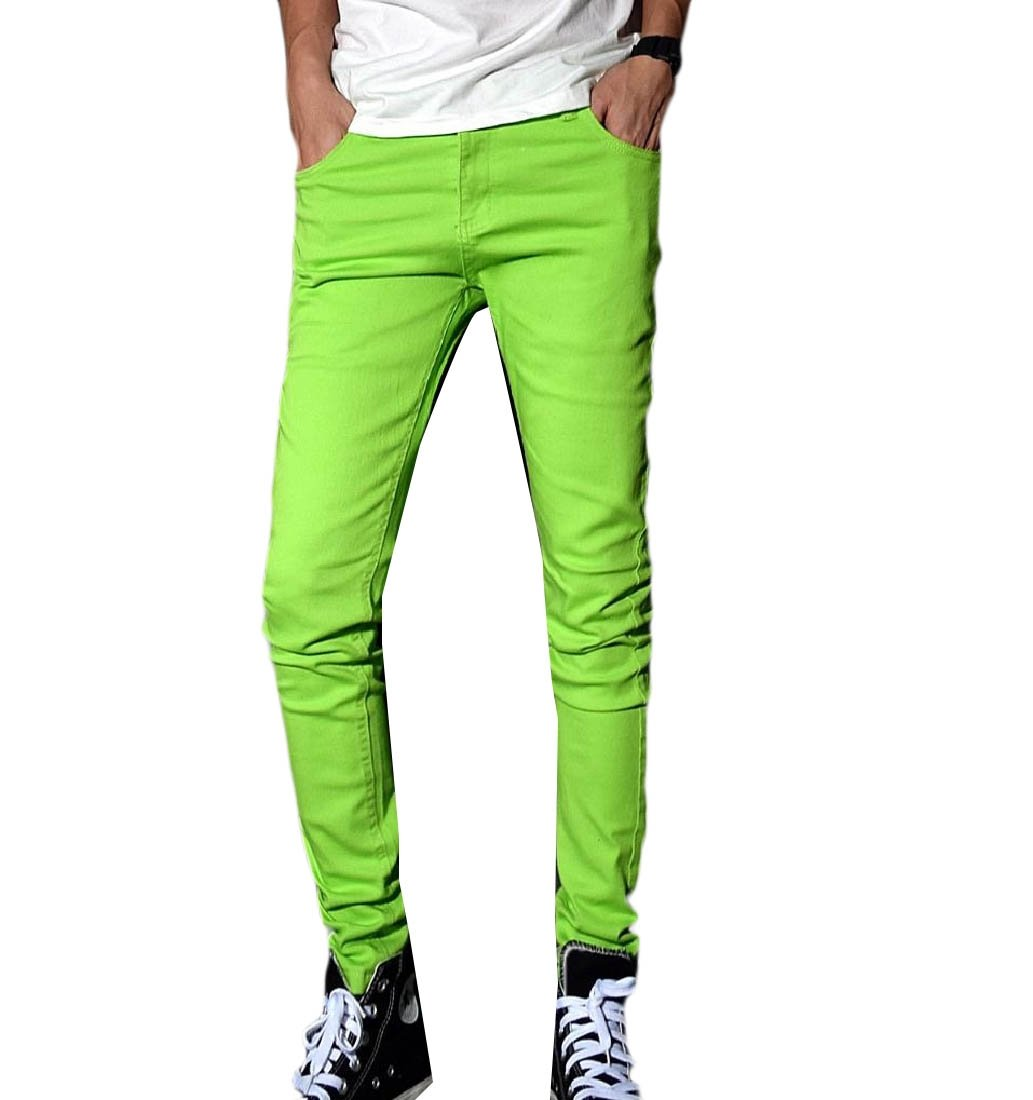 SportsX Mens Fit Stretch Pure Color Blazer Fashion Casual Trousers Ankle Jeans Green 36