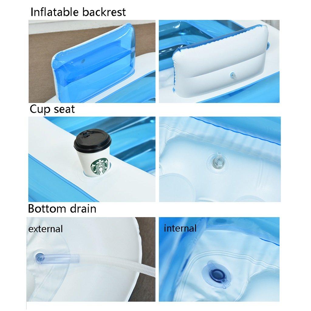 Blue Adult Portable Folding Inflatable Bathtub comfortable soaking ...