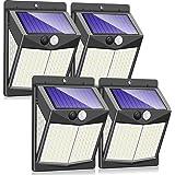Luces Solares, 4 Paquetes Luz Solar Exterior 140 LED/ 3 Modos 270 ° Lámpara Solar Exterior IP65 Impermeable Iluminación Exter
