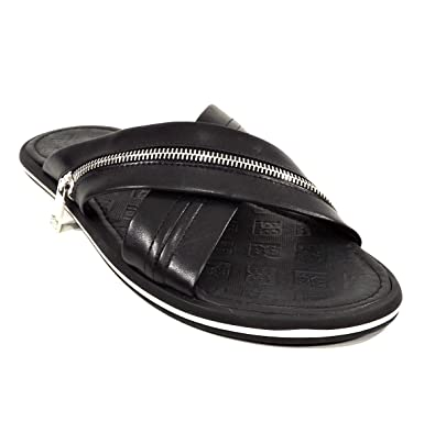 bd0a49ba3e65 BALDININI Men s Black Leather Slides Sandals ...