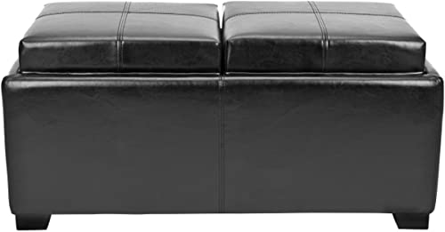 Safavieh Hudson Collection Gramercy Black Leather Double Tray Ottoman