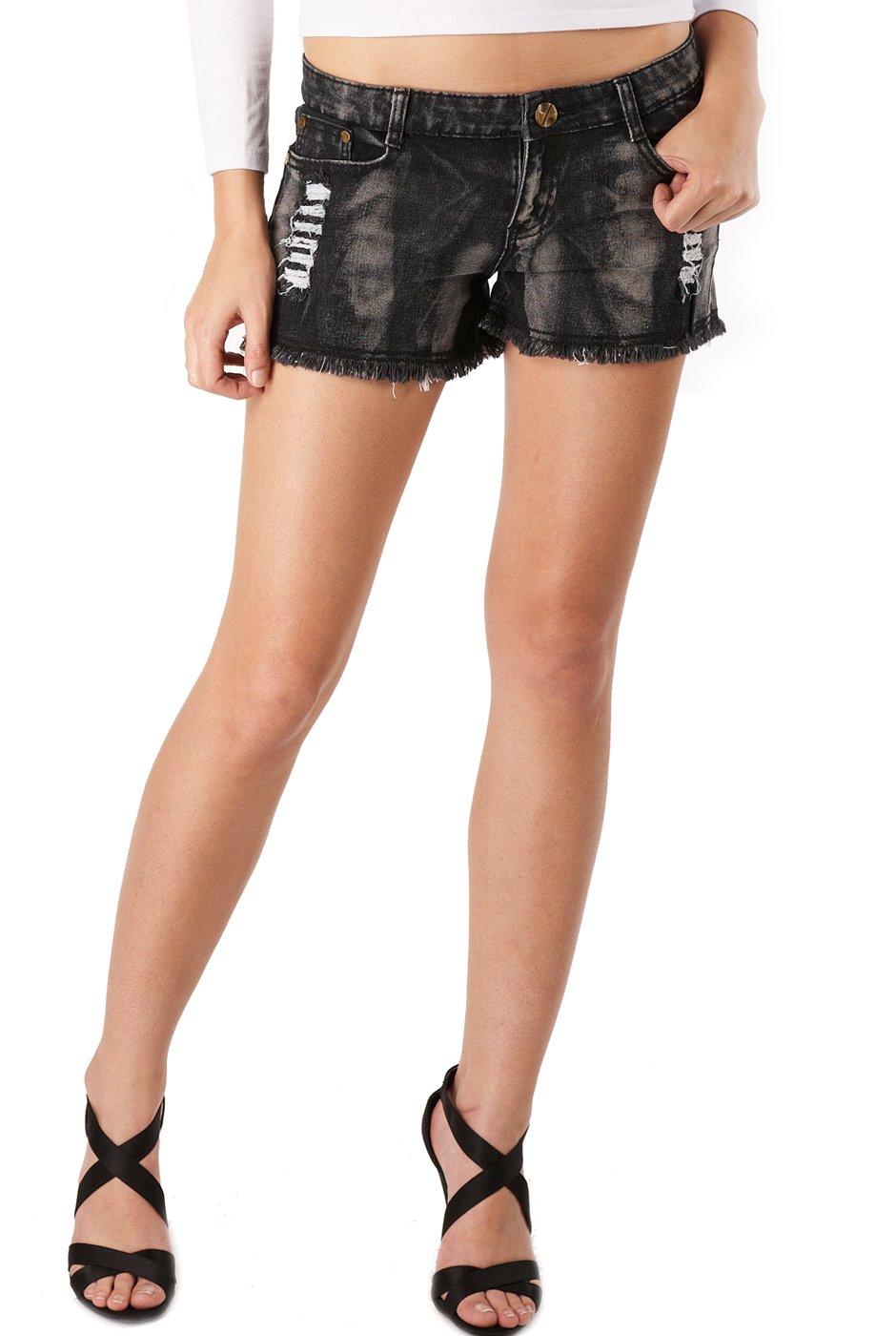Jessie G. Women's Low Rise Destructed Denim Frayed Short Shorts - 4