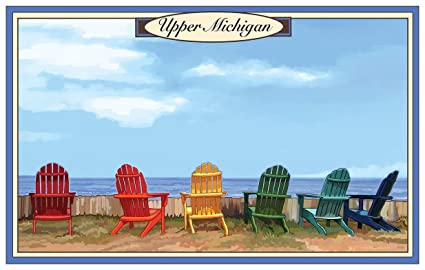 Northwest Art Mall Upper Michigan Adirondack Chairs Travel Art Print Poster  By Joanne Kollman (12u0026quot