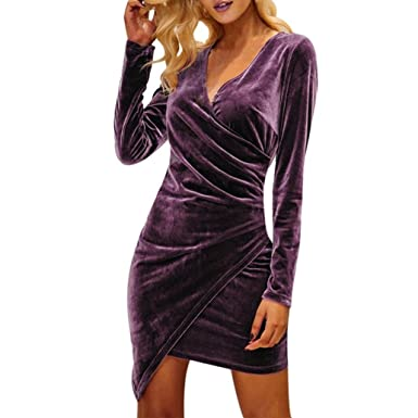 HOMEBABY Women Velvet Deep V-Neck Bodycon Dress, Ladies Ball Gown Party Prom Bridesmaid