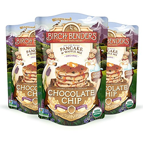 Organic Chocolate Chip Pancake and Waffle Mix by Birch Benders, Whole Grain, Non-GMO, 48 Ounce (16oz 3-pack)