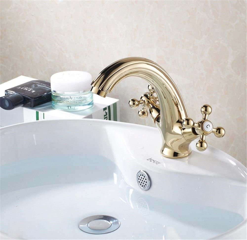 Kitchen Faucet contemporary Antique Solid Brass Kitchen Sink Basin Mixer Tap Plated Gold Hot and Cold two handle tap Double Hole Sink Basin Mixer Tap Bathroom Sink Vessel