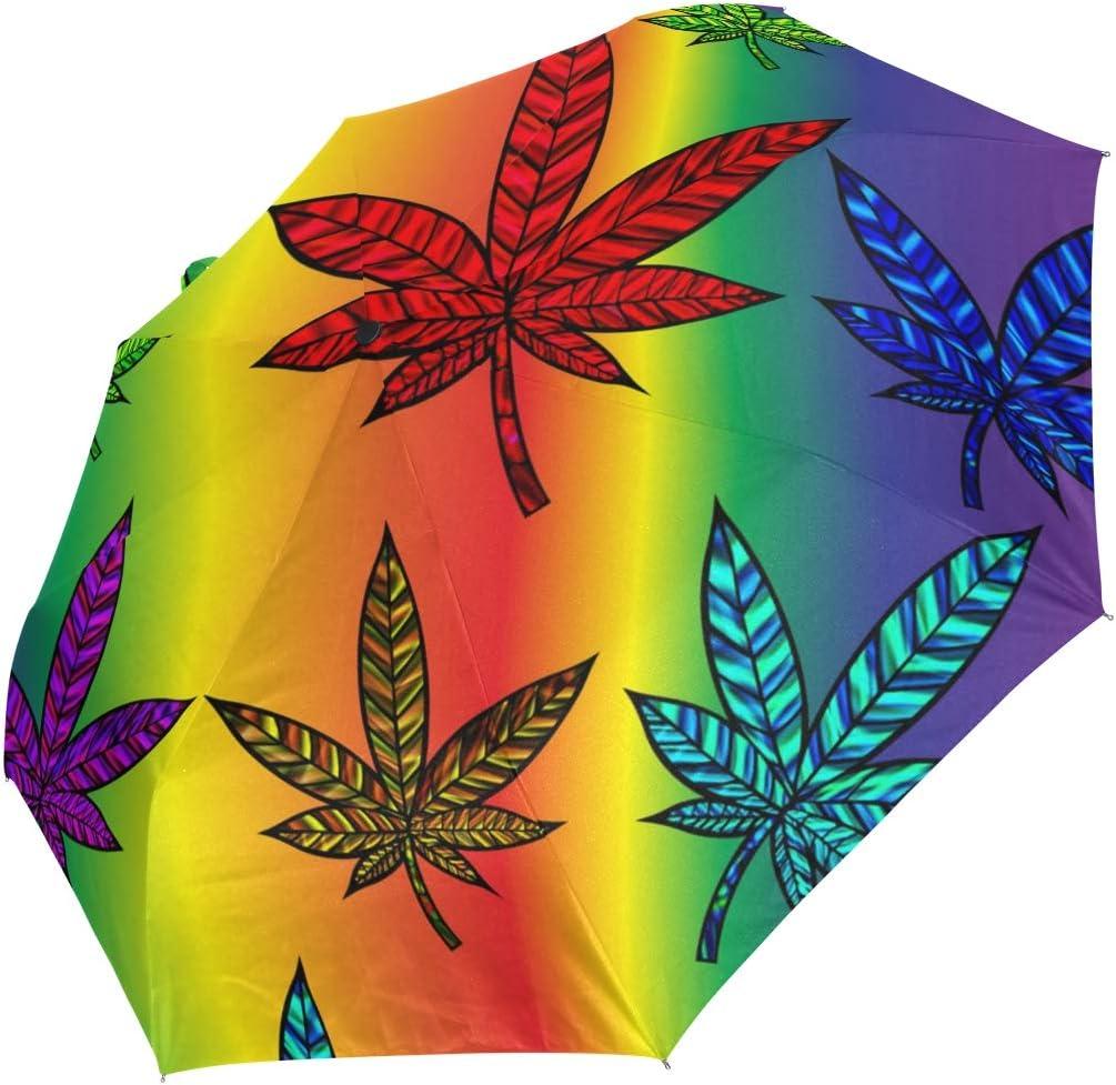 Ahomy Art Paraguas Plegable de 3 Pliegues con diseño de Hojas de Marihuana, Resistente al Viento, Resistente a la Lluvia, protección UV, Apertura y Cierre automático