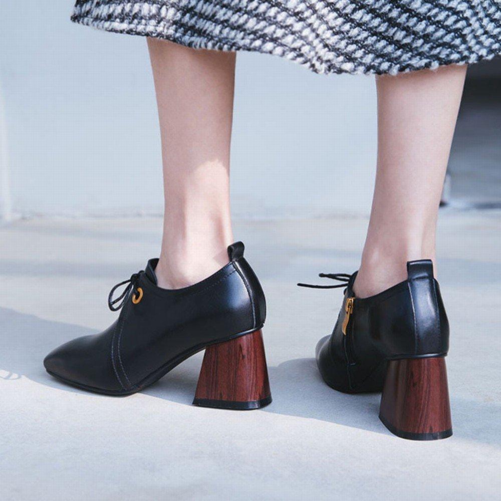 DHG Frühlingsfrauen Schuhe Kleine Frische Hochhackige Schuhe Europäische Station Einfache S Frauen S Einfache Quadrat Schuhe mit Den Sohlen Schuhe,Schwarz,35 - 5e0477