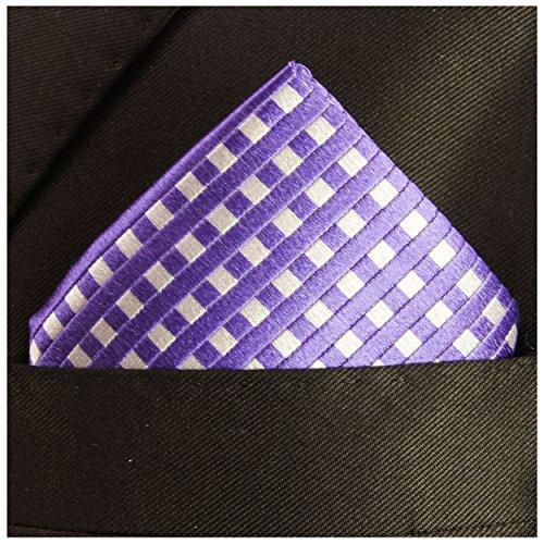 Paul Malone de carré de poche mouchoir 100% soie Pourpre carreaux
