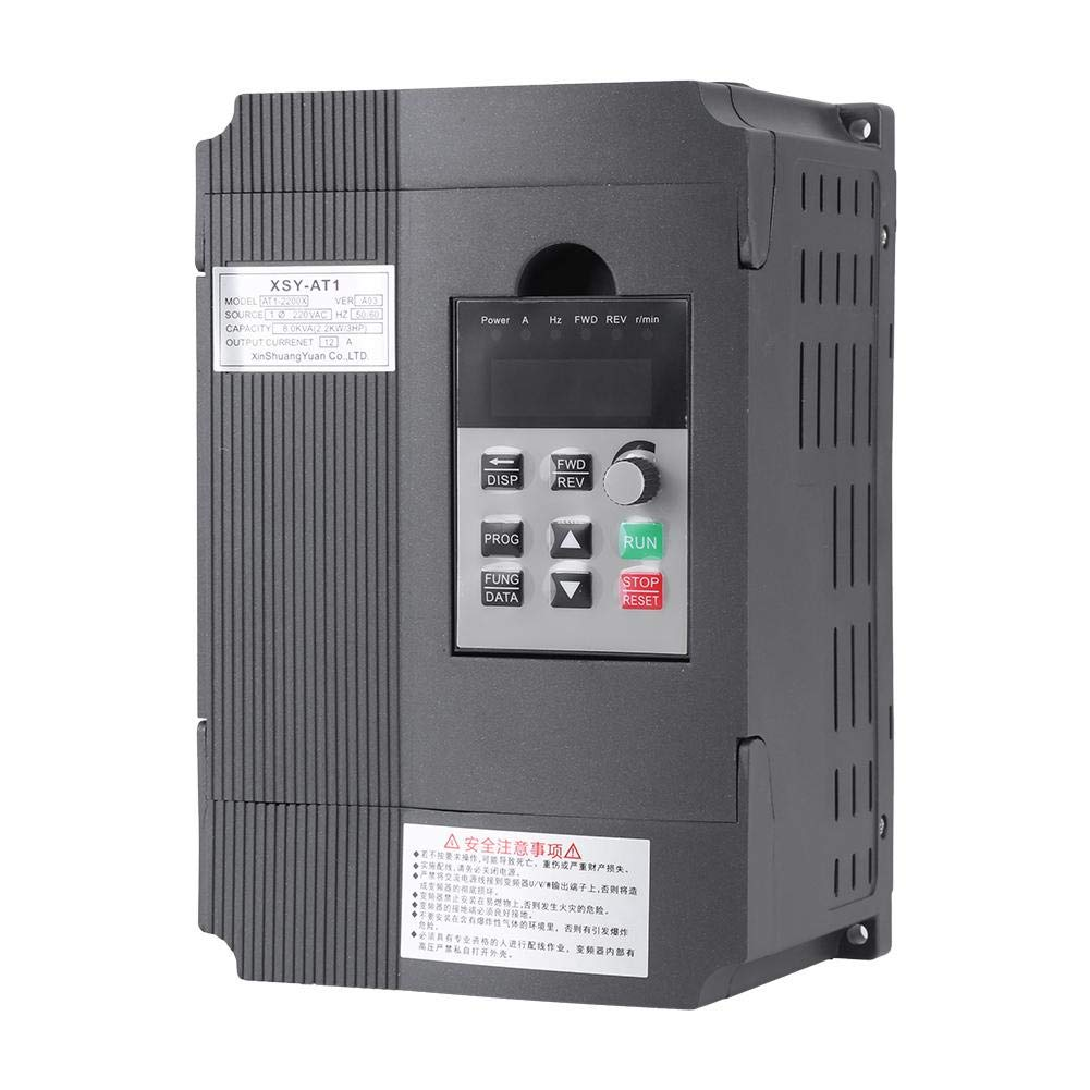 VFD Inverter Single to 3 Phase, 220V Variable Frequency Drive,Low Noise and Low Electromagnetic Interference,Large Torque,Speed Controller for 3-Phase 2.2KW AC Motor