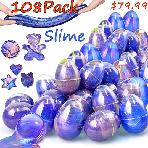 108 Pack Easter Basket Stuffers Eggs Slime - Easter Eggs Slime Kit Colorful Eggs Easter Decorations Parties, Perfect Easter Eggs Basket Gifts in a Bunny Delicate Gift Box for Toddlers Girls Boys Gifts