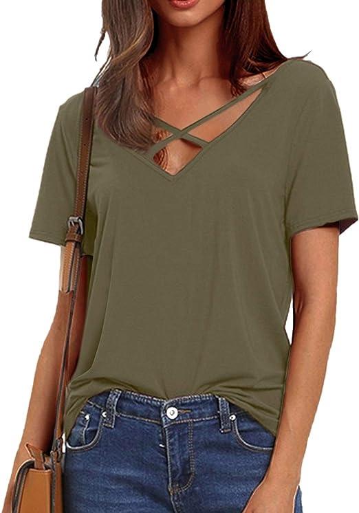 Damen Sommer Kurzarmshirt V-Ausschnitt Lose T-Shirt Freizeit Tops Bluse Oberteil