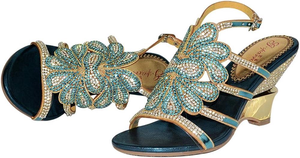 Sparrow Rhinestone Wedge Heels Bohemia Dress Shoes Gladiator Sandals Cut-Out Crystal Women High Heels