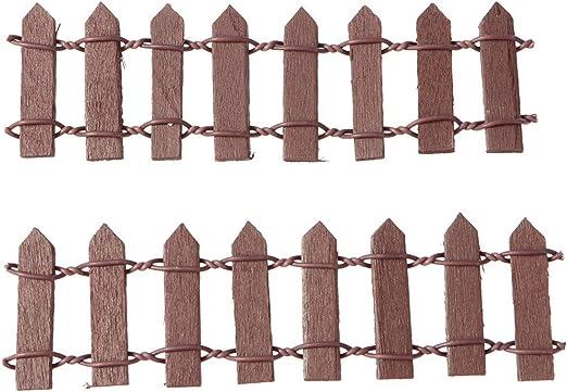 SUPVOX 10 Piezas Mini Valla de Madera Adorno Accesorio Decoración para Mini Paisaje de Jardín Miniatura Jardín de Hadas (café): Amazon.es: Hogar