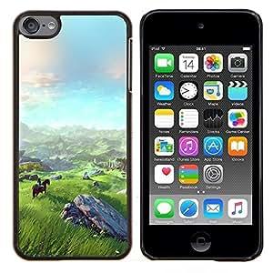 EJOOY---Cubierta de la caja de protección para la piel dura ** Apple iPod Touch 6 6th Touch6 ** --Paisaje Vista montaña Equitación Arte
