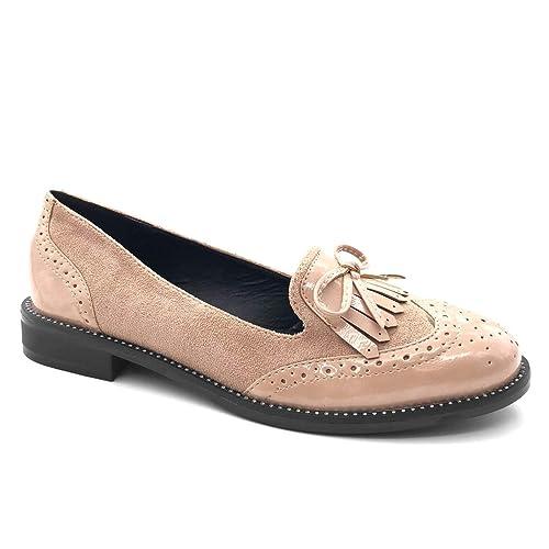 Angkorly - Zapatillas Moda Mocasines Bimaterial Slip-on Mujer Perforado Fleco Nodo Tacón Ancho 2.5 CM: Amazon.es: Zapatos y complementos