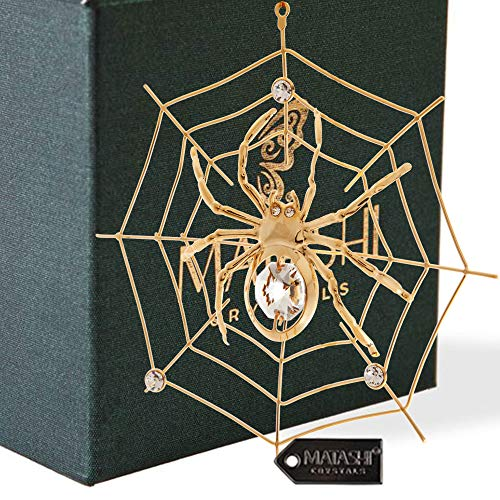 24K Gold Plated Crystal Studded Spider on Web Hanging Ornaments for Christmas Tree, Christmas Spider Miracle Traditions, Decor - The Tradition of Tinsel Legend Spider on Web Ornament (Telling Christmas The Kids Story)