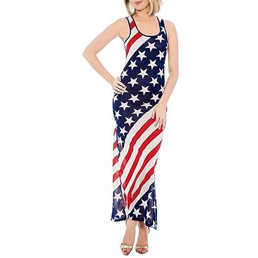 3efdb8be3c96 Gyoume Flag Print Dress, Womens Long Dress Summer O-Neck Sleeveless Dress  Prom Teen