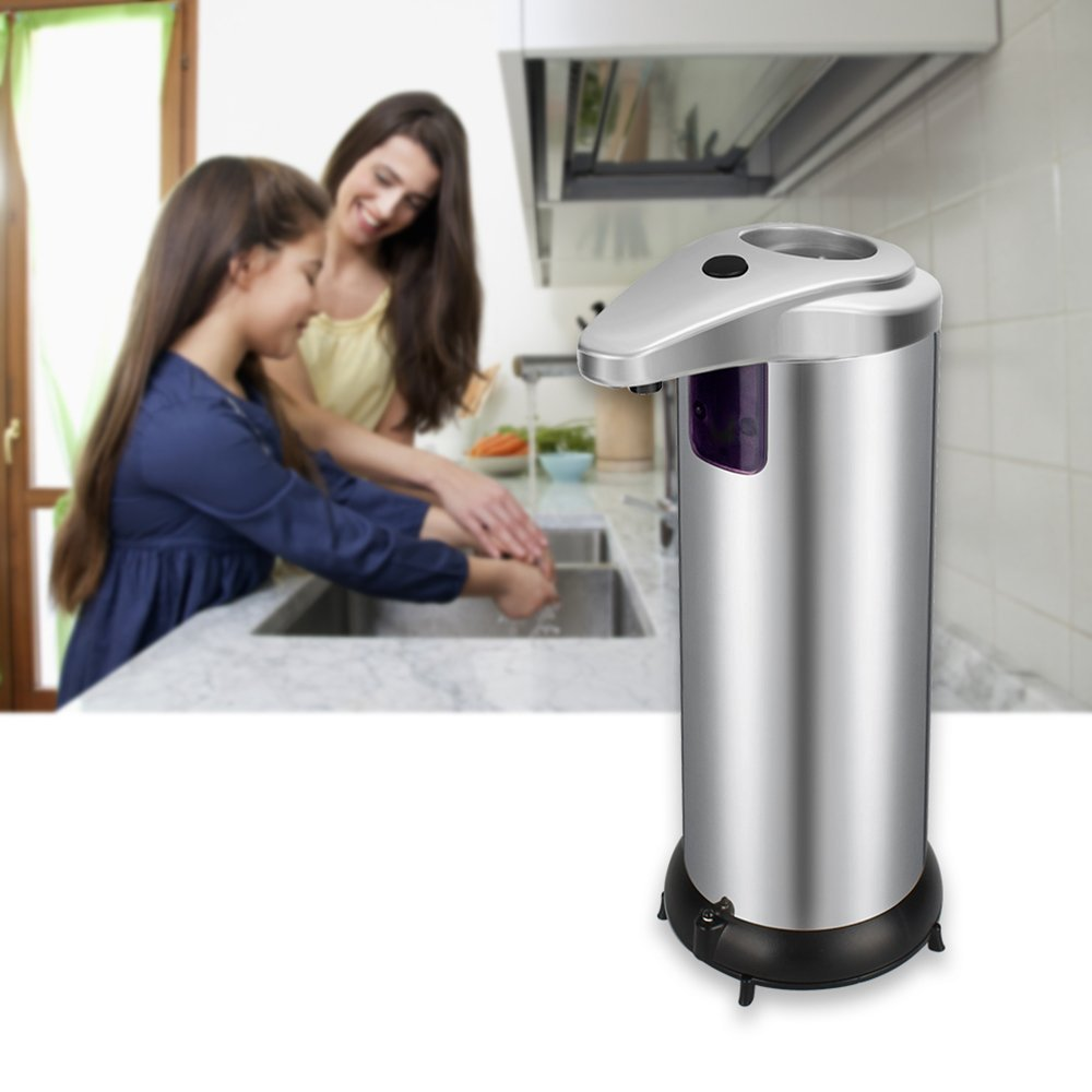 Fun Sponsor Automatic Soap Dispenser, 250ML Stainless Steel Touchless Liquid Sensor Soap Dispenser Soap Holder Hand Free with Waterproof Base for Kitchen Bathroom (Silver)
