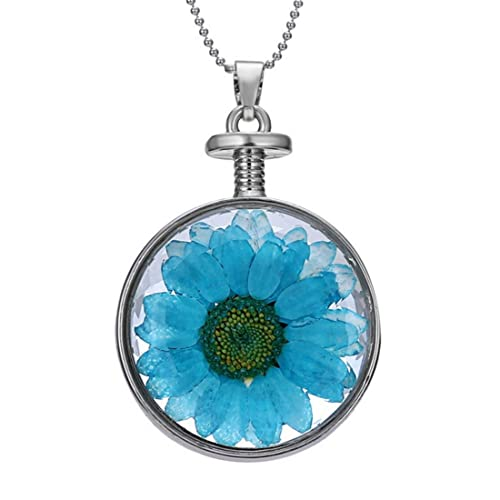 Sunflower necklace real flower pendant sunflower jewelry blue dry sunflower necklace real flower pendant sunflower jewelry blue dry flowers aloadofball Image collections