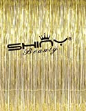 ShinyBeauty Gold Metallic Tinsel Foil Fringe Curtain 6FTx8FT Wedding/Birthday/Halloween/Christmas Party Photo Booth Backdrop (Pack of 2)