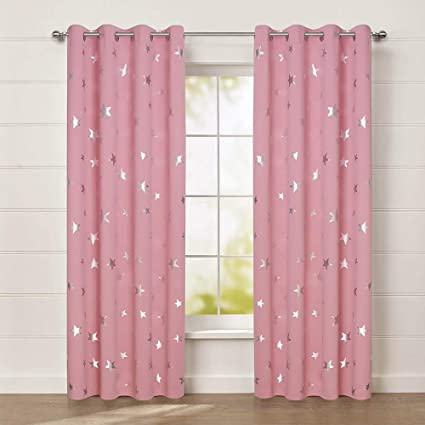 Amazon.com: Anjee Cute Pink Blackout Curtains for Girls\' Bedroom ...