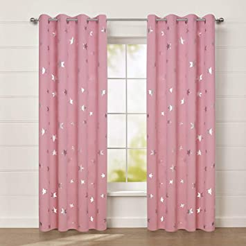 Anjee Cute Pink Blackout Curtains for Girls\' Bedroom, Silver Star Print  Thermal Insulated Window Curtains, 52 x 84 Inches, 2 Panels, Baby Pink