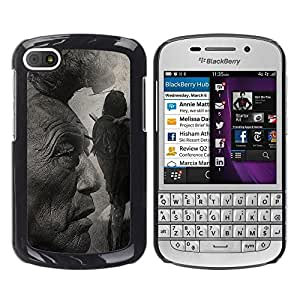 PC/Aluminum Funda Carcasa protectora para BlackBerry Q10 Native American Indian Man Art Nature Hair / JUSTGO PHONE PROTECTOR