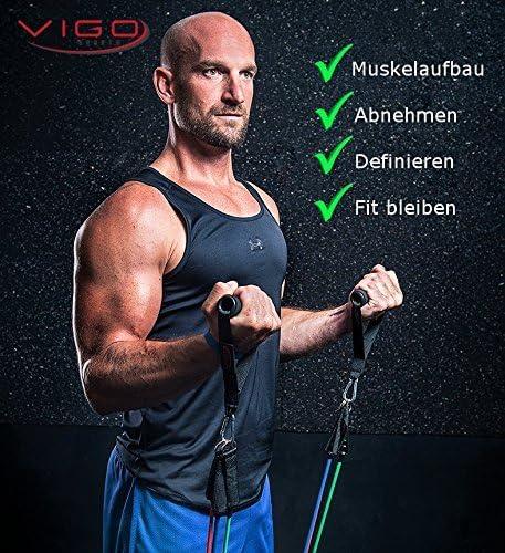 /Bandes de r/ésistance Tubes Parfait pour Homme /& Femme/ /Votre Fitness Studio Professionnelle pour la Maison /& d/éplacements Vigo Sports Premium Set Resistance Bands Expander avec Workout Guide/