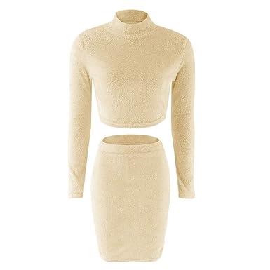 Gugavivid Conjunto de Falda de suéter de Felpa para Mujer de 2 ...