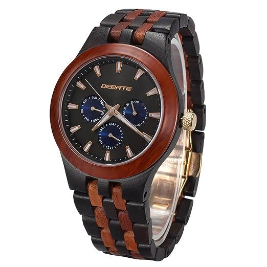 Reloj Madera, BEDATE W145A Relojes Hombre de Madera con Analógico Cuarzo Mecanismo (Black &