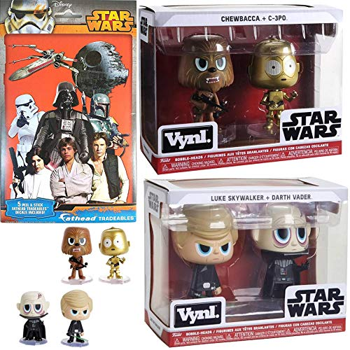 Join The Battle Figure Pack Star Wars Chewbacca + C-3PO Vynl Bundled with Luke Skywalker + Darth Vader Bobble Heads & Tradeables Stickers Iconic Decals Use The Force 3 Items