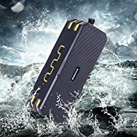 SHUUA Bluetooth Outdoor Speakers IP67 Dustproof/Waterproof Portable Wireless Loudspeaker HIFI Bass,Built-in 5200mAh Battery,8 hours play time (Black+Yellow)
