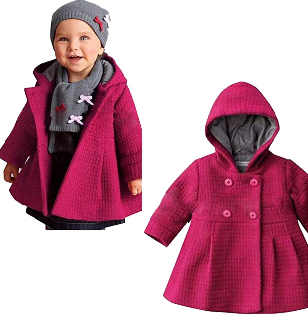 e92213c0fa9a Galleon - EGELEXY Baby Girl s Hooded Wool Cotton Trench Coat Outwear ...