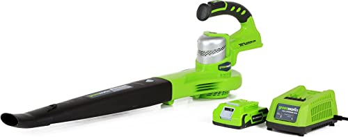 Greenworks 24V 90 130 MPH Dual Speed Cordless Leaf Blower, 2.0Ah Battery and Charger Included 24352