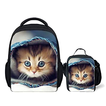 7cf059485f0 Showudesigns Cute Cat Bookbag School Backpack and Small Lunch Bag for  Toddler Kids  Amazon.co.uk  Luggage
