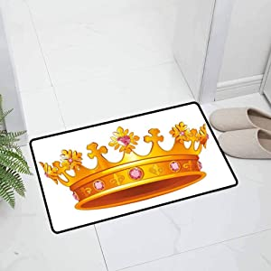 Queen Indoor Outdoor Kitchen Rugs and Mats Holiday Doormat Golden Color Crown with Pink Gemstone Figures Antique Tiara Nobility Symbol for Entry and High Traffic Areas, 23.5 x 15.5 inch Yellow Pink