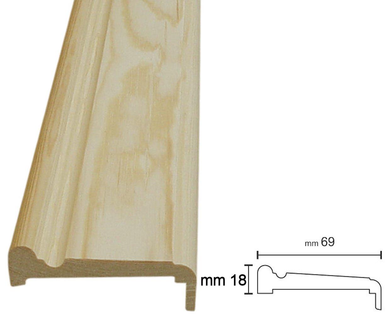 confezioni da metri 11 sufficienti per entrambi i lati della porta 13x69, Pino grezzo da verniciare Coprifili in legno massiccio in aste da 2300 mm