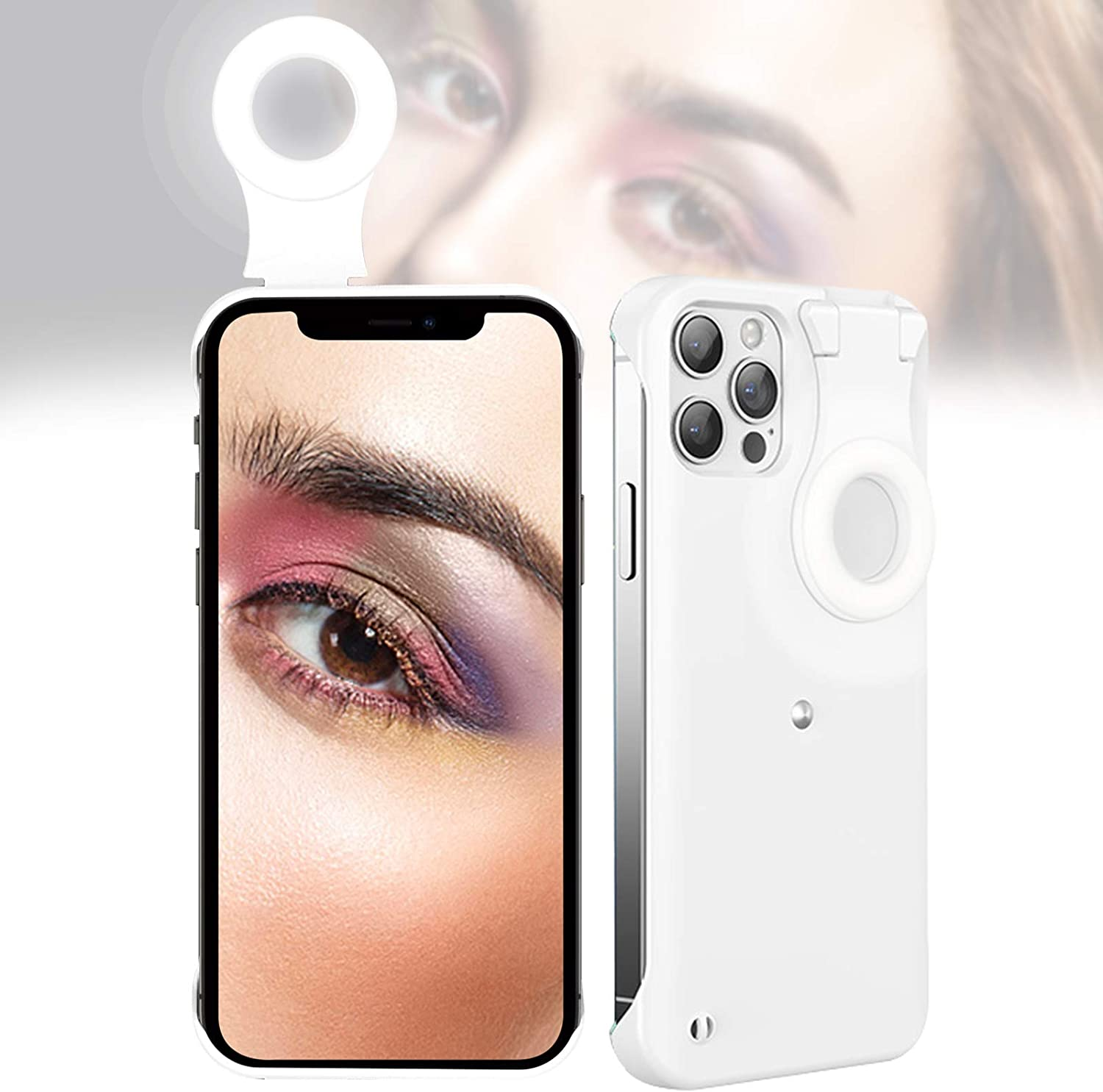 Selfie Case for iPhone 11 Pro Max, Selfie Ring Light Case for iPhone 11 Pro Max, LED Luminous Selfie Light Up Case for iPhone 11 Pro Max to Tiktok/Live Streaming/Makeup/Photos/YouTube Video - White