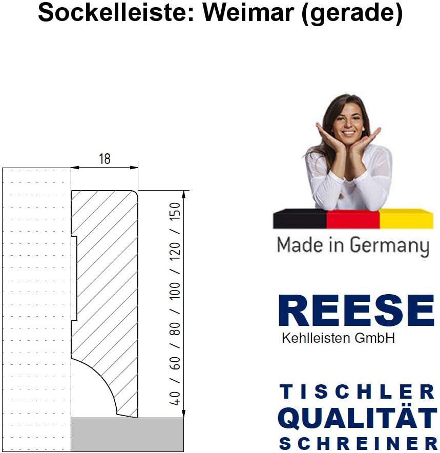 150mm H/öhe, Weimarer Profil ab 2,70/€//lfm Wei/ße Sockelleisten im Hamburger Berliner Weimarer Profil MDF