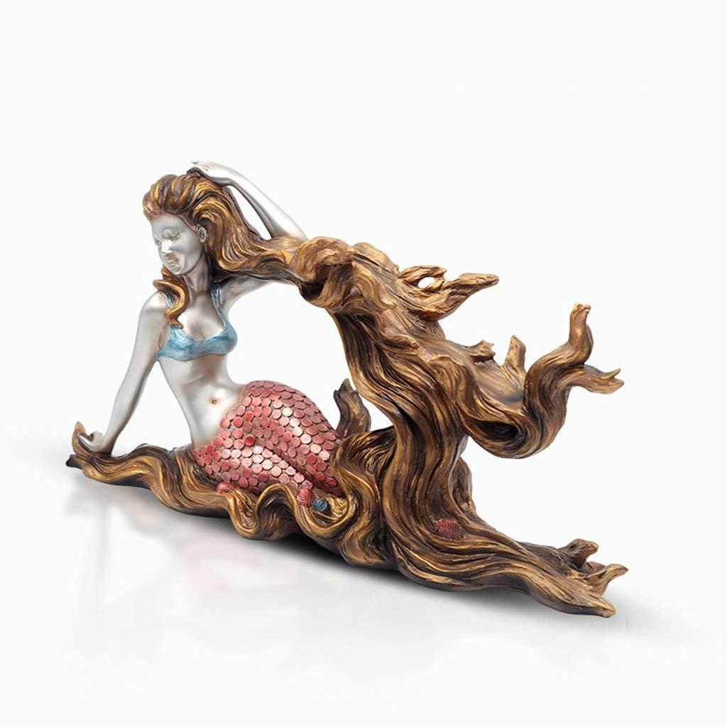 Decoration Mermaid Wine Rack Ornaments, Living Room Bedroom Resin Decorations Crafts Decorations,48 18 26cm Decoration (Color : A)