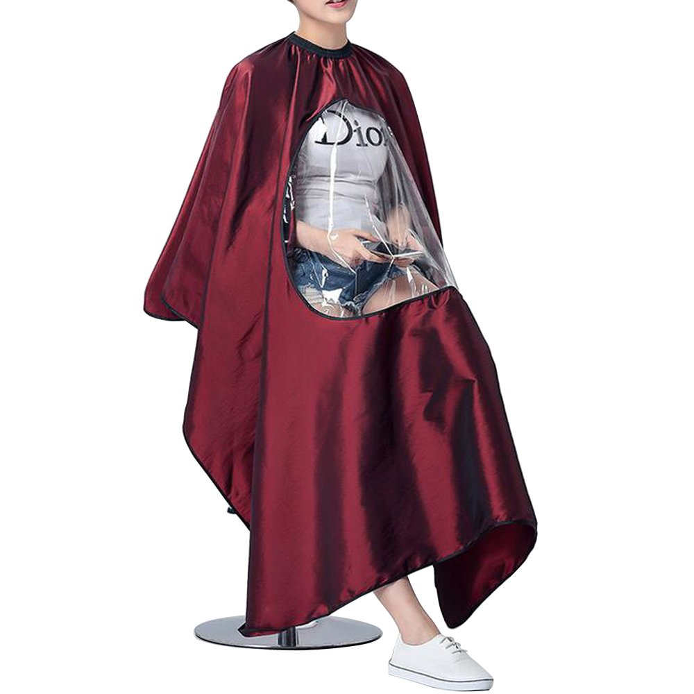 GLODEALS Professional Barber Cape with Viewing Window Haircut Cape Hairdresser Apron Waterproof Gown with Adjustable Neck (Wine Red)