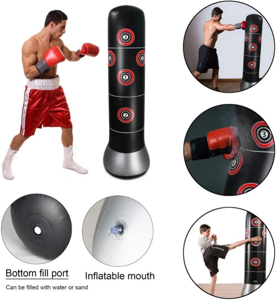 Boxing Bag Punching Bag 150 cm Free Standing Inflatable Punching Tower Bag with Inflator for Kids Adults Stress Relief Fitness Training