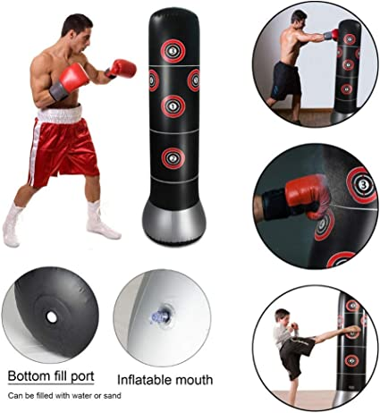 Yous Auto Inflatable Punching Bag,Free-standing Freestanding Bag Training Tumbler Bag for Relieving Pressure Body Building 160cm Fitness Sandbag for Adult Kids