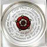 Decorative Hand Painted Stained Glass Paperweight in a Tudor Rose Carpe Diem Design.