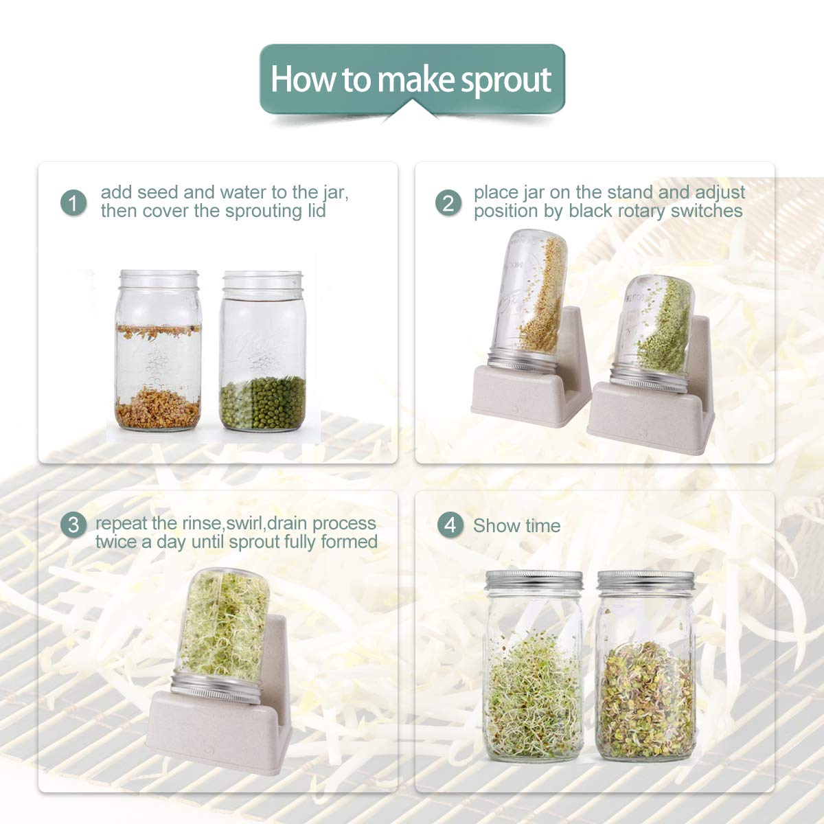 Sprouting Lids,2 Pack Sprouting Stand and 4 Pack Stainless Steel Screen Sprouting Jar Lids Mason Jar Sprouting Lids for Wide Mouth Mason Jars Growing Sprouts Organic Sprout Seeds