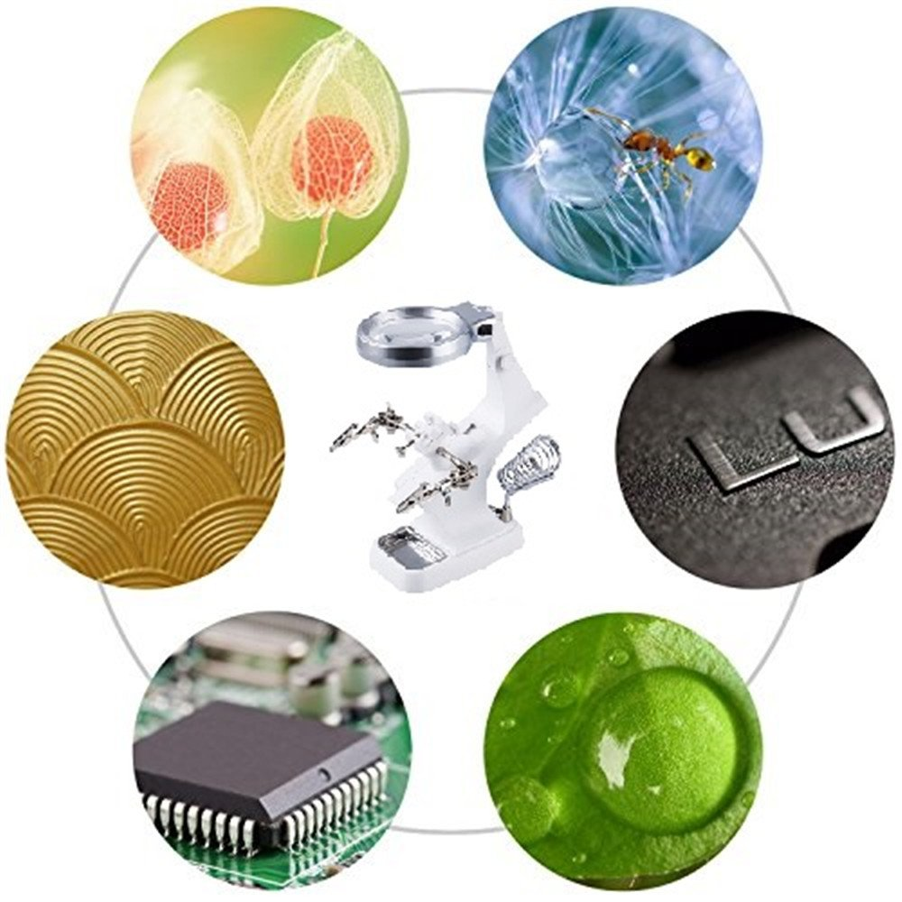 Modeling for Soldering Hobby Repair Glam Hobby LED Light Helping Hands Magnifier Station 3X 4.5X USB Lighted Hands Free Magnifying Glass Stand with Clamp and Alligator Clips Crafts Assembly
