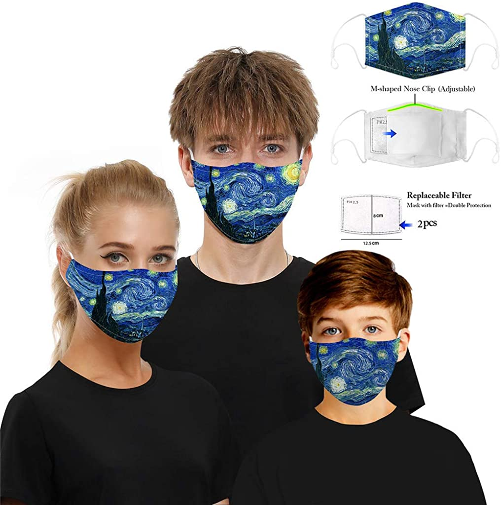 Wiederverwendbare Outdoor Unisex Staub 2 /× 5-lagiger Filter Stoff WiHoo Accessory Erwachsene m/ännliche weibliche Lustige atmungsaktiver Baumwolle Soft Half Face