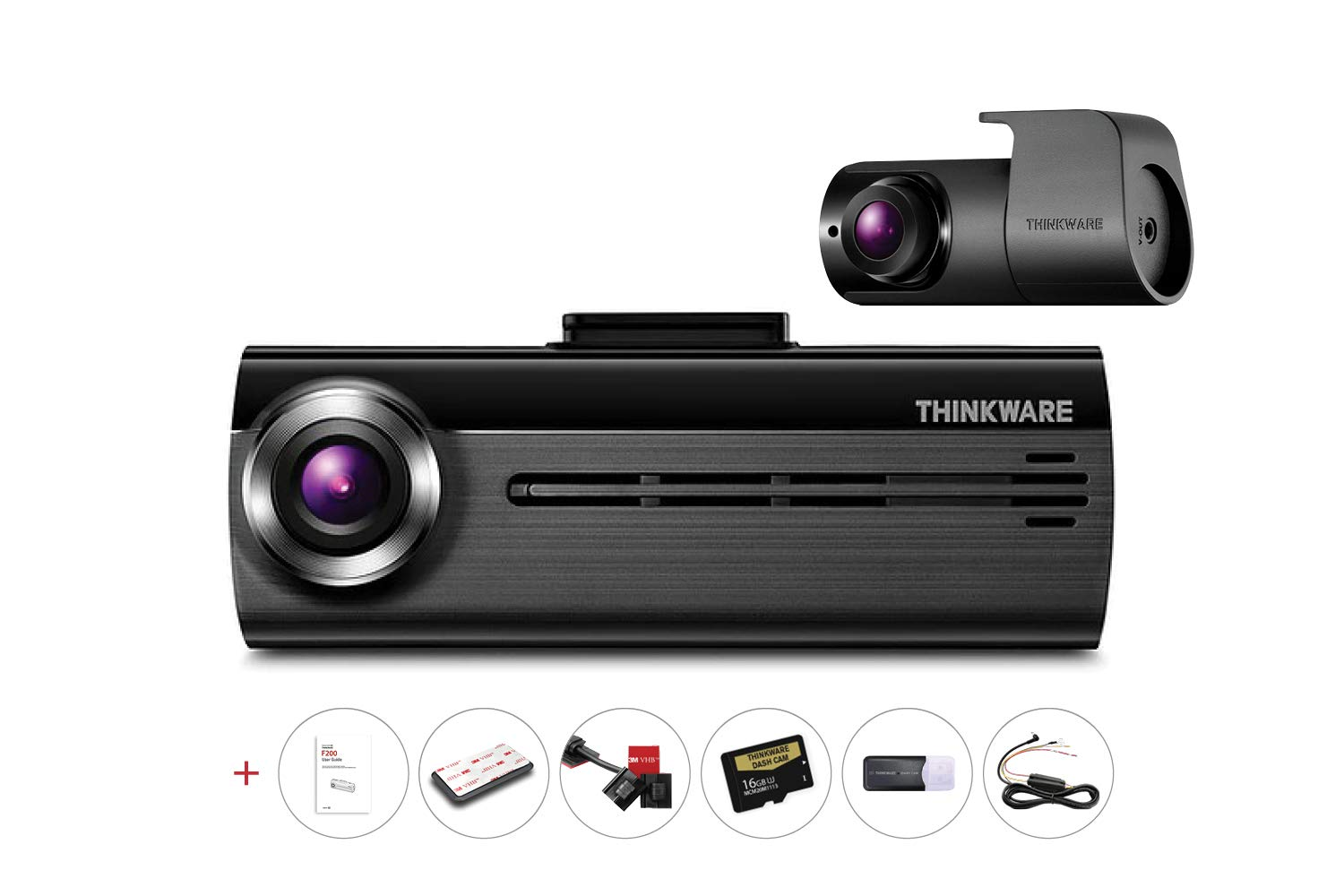 Thinkware FA200 2CH Dual Channel Dash Cam   Hard-Wiring Kit & 16GB Micro SD Card Included