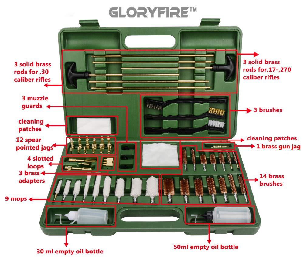 GLORYFIRE Universal Gun Cleaning Kit Hunting Rilfe Handgun Shot Gun Cleaning Kit for All Guns with Case Travel Size Portable Metal Brushes (Green 2) by GLORYFIRE (Image #4)